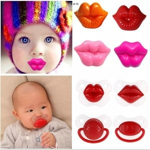 Other - Silicon hot pink lip or mustache pacifier